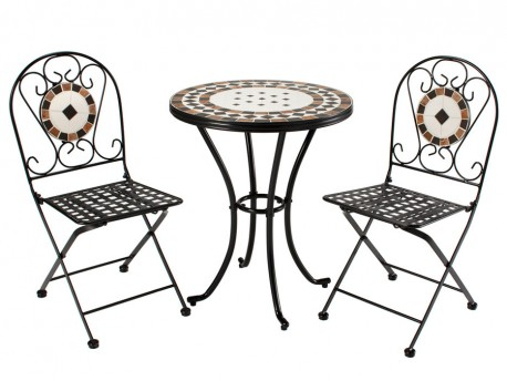 Bedfordshire 5 Piece Mosaic & Steel Garden Table & Chair Patio Set With Bedfo 3 Piece Dining Sets (View 11 of 25)