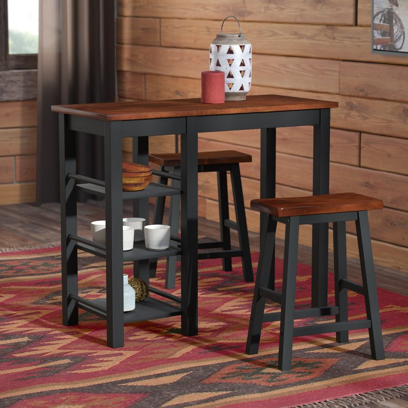 Berrios 3 Piece Counter Height Dining Set For Winsted 4 Piece Counter Height Dining Sets (Image 4 of 25)