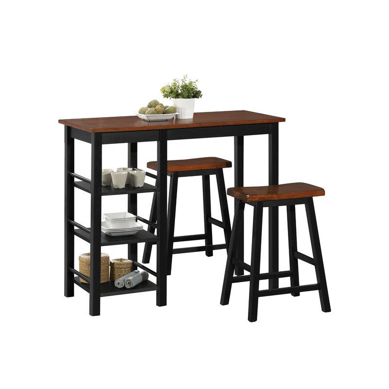 Berrios 3 Piece Counter Height Dining Set Within Winsted 4 Piece Counter Height Dining Sets (Image 6 of 25)