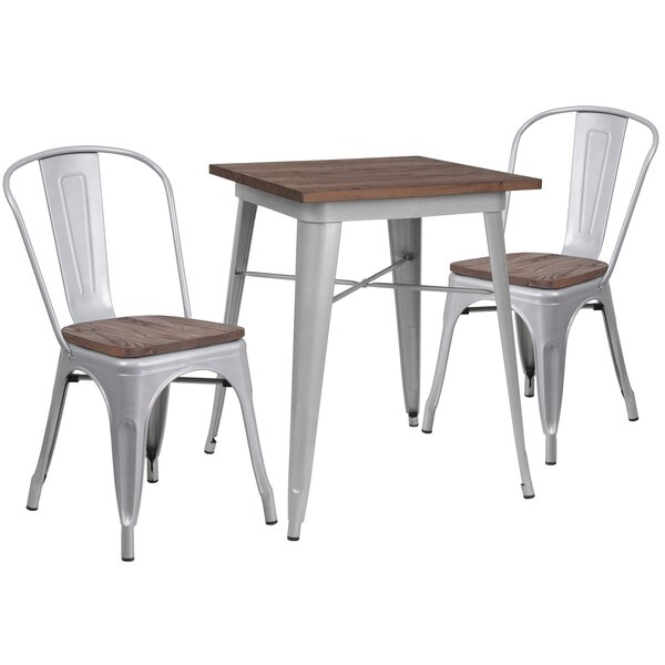 Best #1 Pray 3 Piece Solid Wood Dining Setwilliston Forge Throughout Tenney 3 Piece Counter Height Dining Sets (Image 11 of 25)