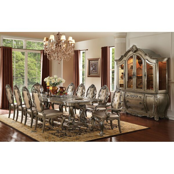 Best #1 Shelia 11 Pieces Extendable Dining Sethouse Of Hampton With Sundberg 5 Piece Solid Wood Dining Sets (Image 7 of 25)