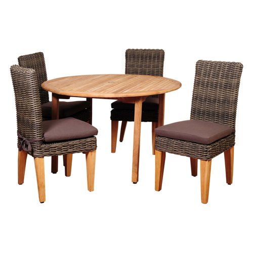 Best Choices Amazonia Del Mar 5 Piece Teak And Wicker Round Dining Inside Delmar 5 Piece Dining Sets (Image 1 of 25)