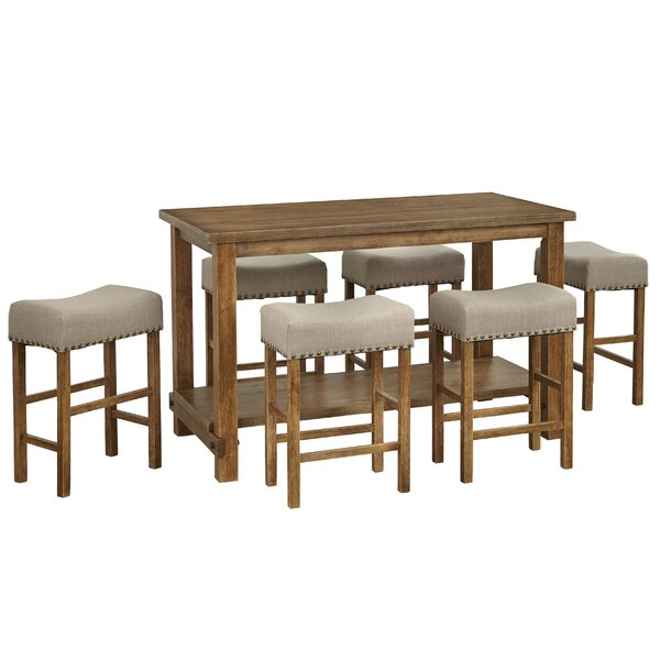Best Choices Hendina 7 Piece Counter Height Pub Table Setgracie Intended For Tenney 3 Piece Counter Height Dining Sets (Image 12 of 25)