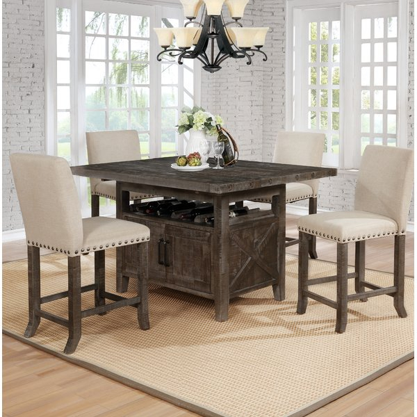 Best Design Shackleford 5 Piece Counter Height Dining Setgracie For Presson 3 Piece Counter Height Dining Sets (Image 3 of 25)