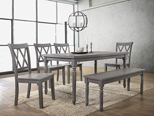 Best Master Furniture Paige 6 Pcs Dining Set With Bench Rustic Grey In Miskell 3 Piece Dining Sets (View 21 of 25)