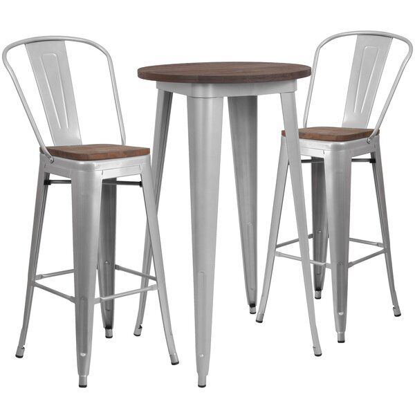 Best Rosenberry Modern And Contemporary 5 Piece Dining Set In Kinsler 3 Piece Bistro Sets (View 16 of 25)