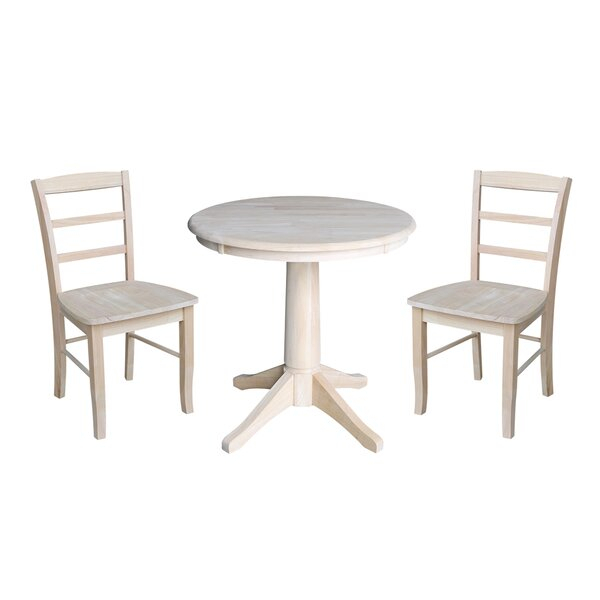 Best Scettrini 3 Piece Solid Wood Dining Setrosalind Wheeler Regarding Miskell 3 Piece Dining Sets (View 19 of 25)