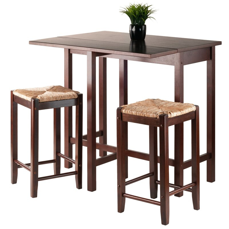 Bettencourt 3 Piece Counter Height Solid Wood Dining Set In Bettencourt 3 Piece Counter Height Dining Sets (View 5 of 25)
