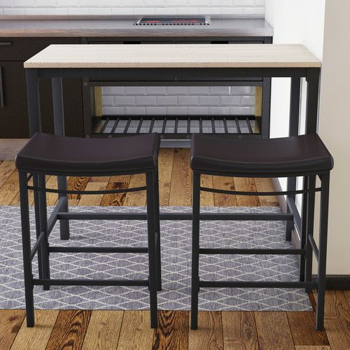 Bezons 3 Piece Pub Table Set | For The Home | Pub Table Sets, Bar Regarding Moorehead 3 Piece Counter Height Dining Sets (Image 3 of 25)