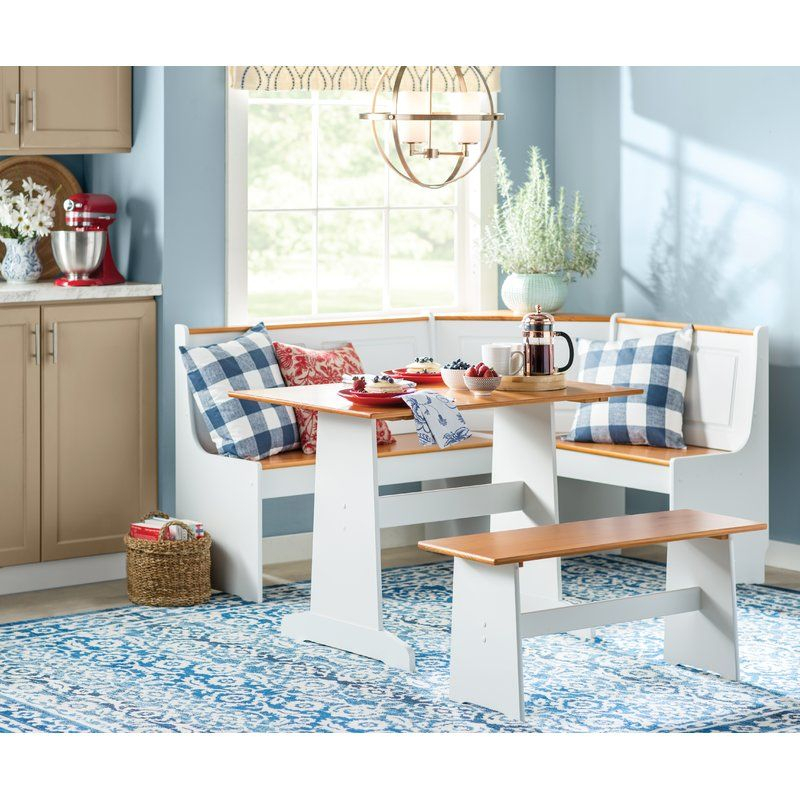 Birtie 3 Piece Solid Wood Breakfast Nook Dining Set In 2019 | Echo In 3 Piece Breakfast Nook Dinning Set (View 7 of 25)
