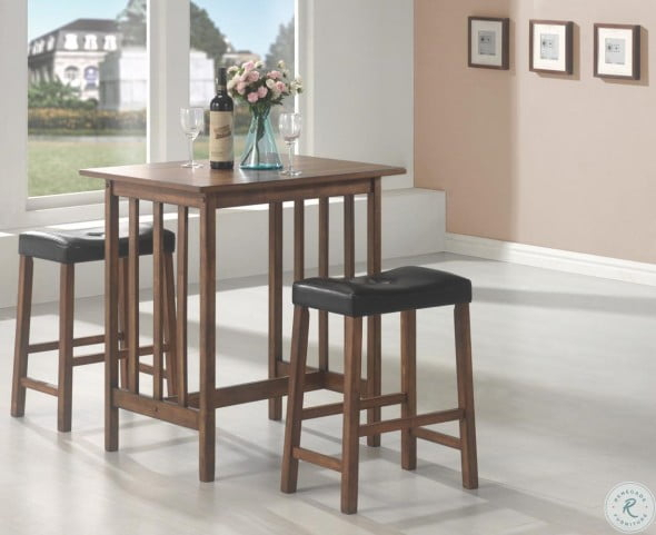 Black 3 Pcs Counter Height Dining & Dinette Set 130004 From Coaster For Penelope 3 Piece Counter Height Wood Dining Sets (Image 1 of 25)