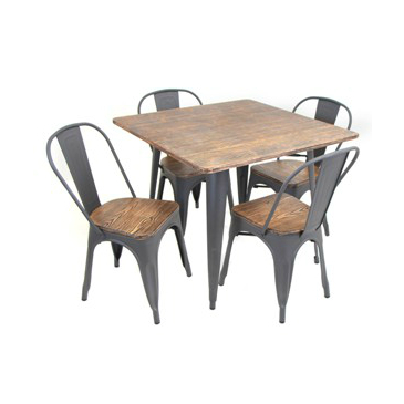 Bohemian Grey Tolix Chair And Table Set | Furnitures | Farmhouse Regarding Telauges 5 Piece Dining Sets (View 22 of 25)
