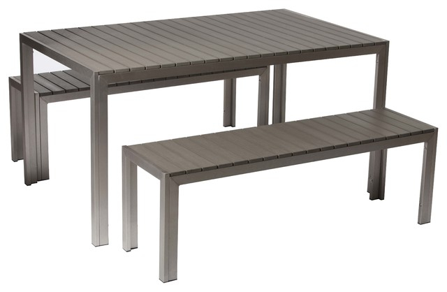 Breeze 3 Piece Dining Set, Gray Inside 3 Piece Dining Sets (View 14 of 25)