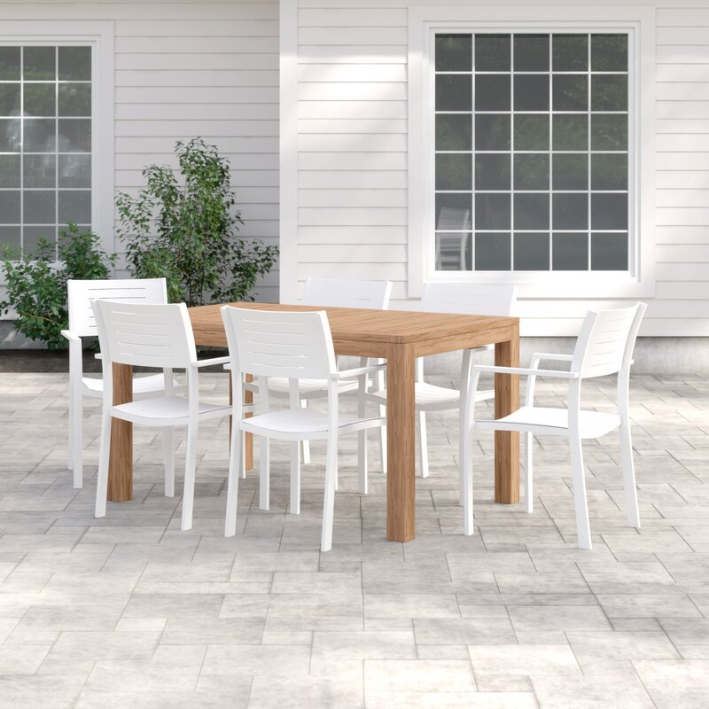 Brighton 7 Piece Teak Dining Set With Regard To Rossi 5 Piece Dining Sets (View 15 of 25)