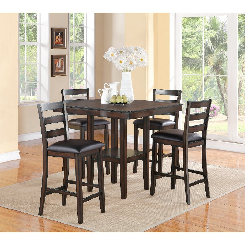 Brown 5 Piece Counter Height Dining Set – Tahoe | Rc Willey Inside 5 Piece Dining Sets (Image 5 of 25)