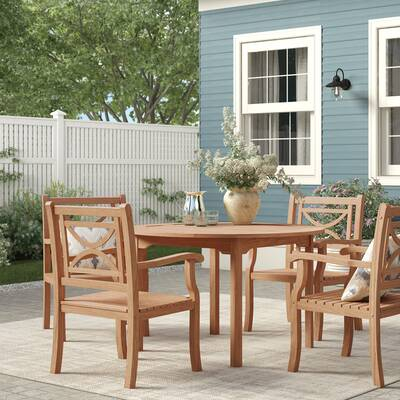 Brunswick Teak Patio Sofa With Cushions Within Rossi 5 Piece Dining Sets (View 24 of 25)
