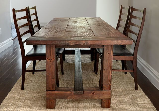 Build This Rustic Farmhouse Table Regarding Falmer 3 Piece Solid Wood Dining Sets (View 6 of 25)