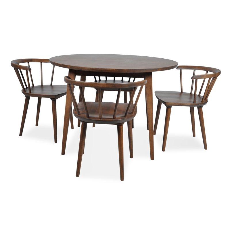 Burgan 5 Piece Solid Wood Breakfast Nook Dining Set With 5 Piece Breakfast Nook Dining Sets (Image 9 of 25)