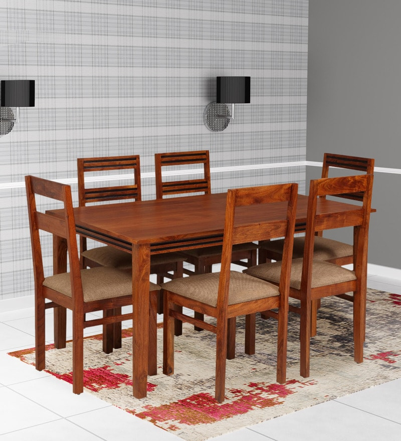 Buy Artois Six Seater Dining Set With Bench & Four Chairs In Dark For Amir 5 Piece Solid Wood Dining Sets (Set Of 5) (Image 7 of 25)