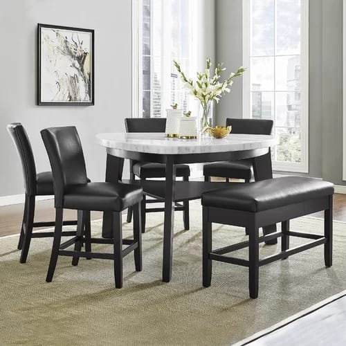 Carrara 6 Piece Counter Height Pub Table Set Pertaining To Bettencourt 3 Piece Counter Height Dining Sets (View 19 of 25)
