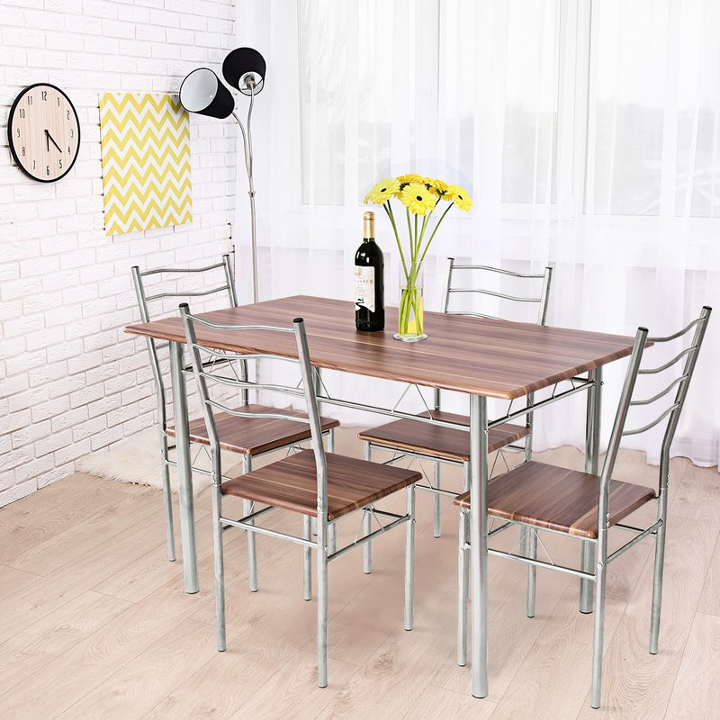 Casiano 5 Piece Dining Set Throughout Middleport 5 Piece Dining Sets (Image 3 of 25)