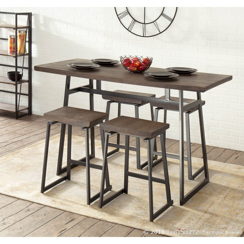 Cassiopeia Industrial 5 Piece Counter Height Dining Set For Bearden 3 Piece Dining Sets (Image 12 of 25)