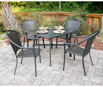 Charlton Home Bearden 5 Piece Commercial Grade All Weather Patio Set With 4  Woven Dining Chairs And A 38 In (Image 13 of 25)