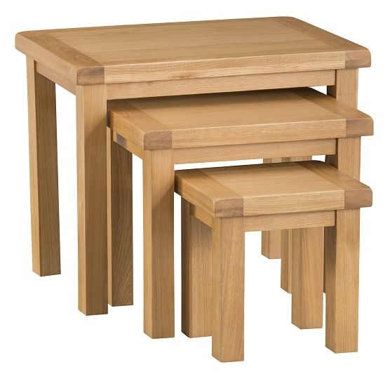 Chelmsford Oak 3 Tier Nest Of Tables For Chelmsford 3 Piece Dining Sets (Image 10 of 25)