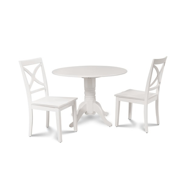 Chesterton 3 Piece Drop Leaf Solid Wood Dining Setalcott Hill Throughout Valladares 3 Piece Pub Table Sets (Image 12 of 25)