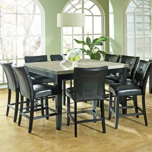 Chloe 9 Piece Counter Height Dining Set With Askern 3 Piece Counter Height Dining Sets (Set Of 3) (View 16 of 25)