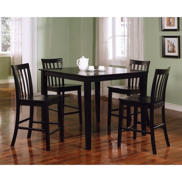 Classy 5 Piece Wooden Counter Height Dining Set, Black Inside Goodman 5 Piece Solid Wood Dining Sets (Set Of 5) (View 19 of 25)