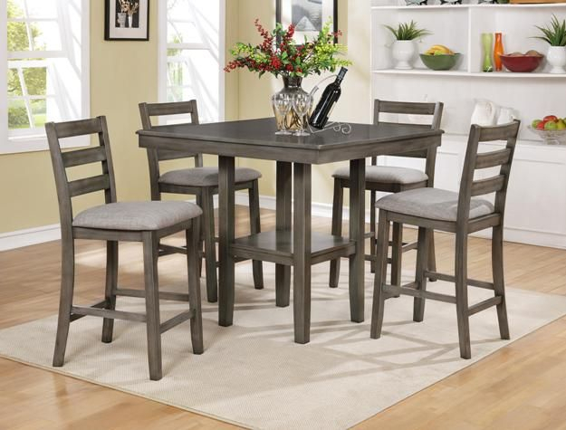 Cm2630Set Gy 5 Pc Grey Brown Finish Wood Counter Height Dining Table With Regard To Denzel 5 Piece Counter Height Breakfast Nook Dining Sets (View 9 of 25)