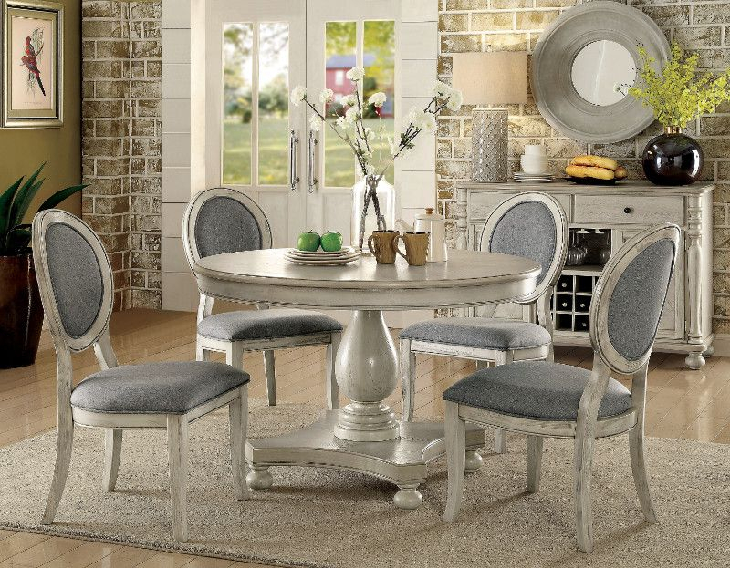 "Cm3872Wh Rt 5Pc 5 Pc Siobhan Antique White Finish Wood 48"" Round Throughout Lamotte 5 Piece Dining Sets (View 22 of 25)"