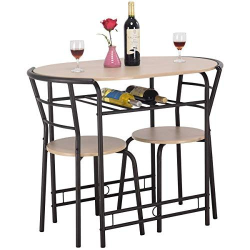 Contemporary 3 Piece Dining Set 1 Table With Wine Rack, 2 Ergonomic Regarding Miskell 5 Piece Dining Sets (View 21 of 25)