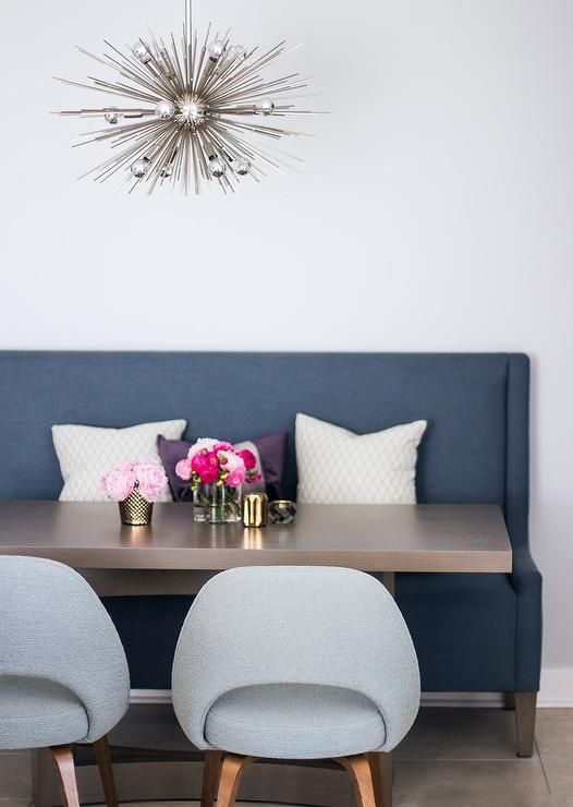 Contemporary Dining Space Features A Blue Wingback Settee Paired For Maloney 3 Piece Breakfast Nook Dining Sets (Image 6 of 25)