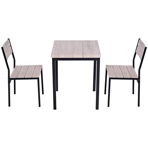Contemporary Dining Table Set 2 Chairs Modern Style Mdf Brown Inside Sundberg 5 Piece Solid Wood Dining Sets (Image 10 of 25)
