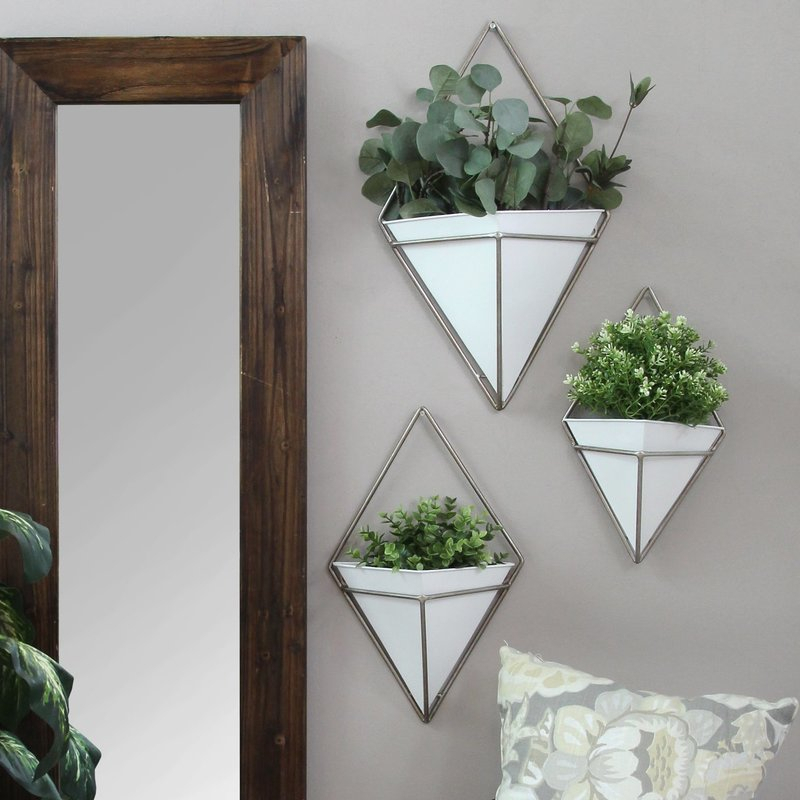 Cordero 3 Piece Metal Wall Planter Set In Wallflower 3 Piece Dining Sets (View 21 of 25)