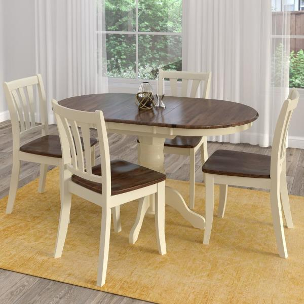 Corliving Dillon 5 Piece Extendable Dark Brown And Cream Solid Wood For Bedfo 3 Piece Dining Sets (View 13 of 25)