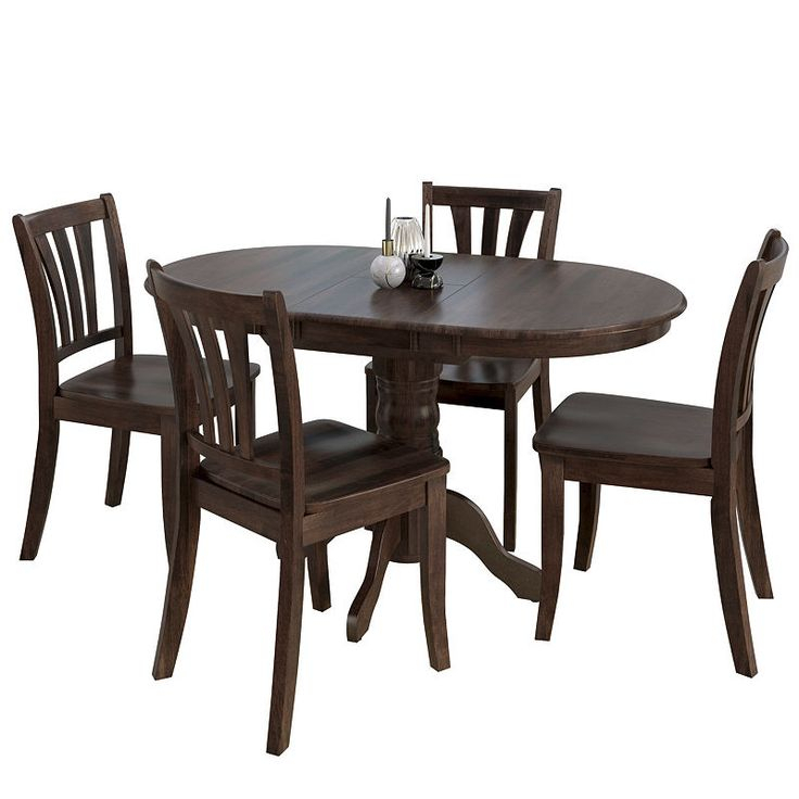 Corliving Dillon 5Pc Extendable Oval Cappuccino Stained Solid Wood Inside Evellen 5 Piece Solid Wood Dining Sets (Set Of 5) (View 10 of 25)