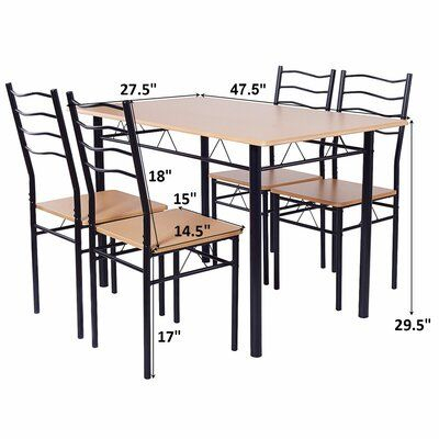 Costway 5 Piece Dining Set Table And 4 Chairs Glass Top Kitchen Pertaining To Stouferberg 5 Piece Dining Sets (View 19 of 25)