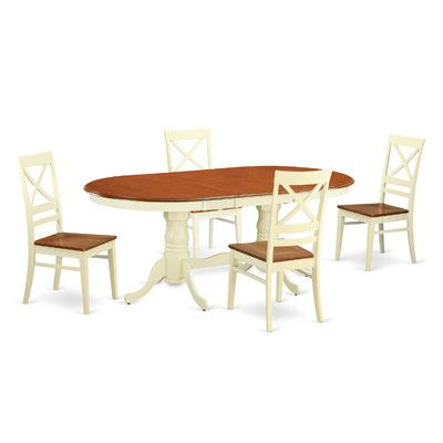 Darby Home Co Germantown 5 Piece Dining Set Finish: Buttermilk And Regarding Baxton Studio Keitaro 5 Piece Dining Sets (View 22 of 25)