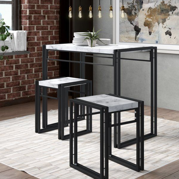 Debby Small Space 3 Piece Dining Set In 2019 | Aptredo | 3 Piece With Rossiter 3 Piece Dining Sets (Image 8 of 25)