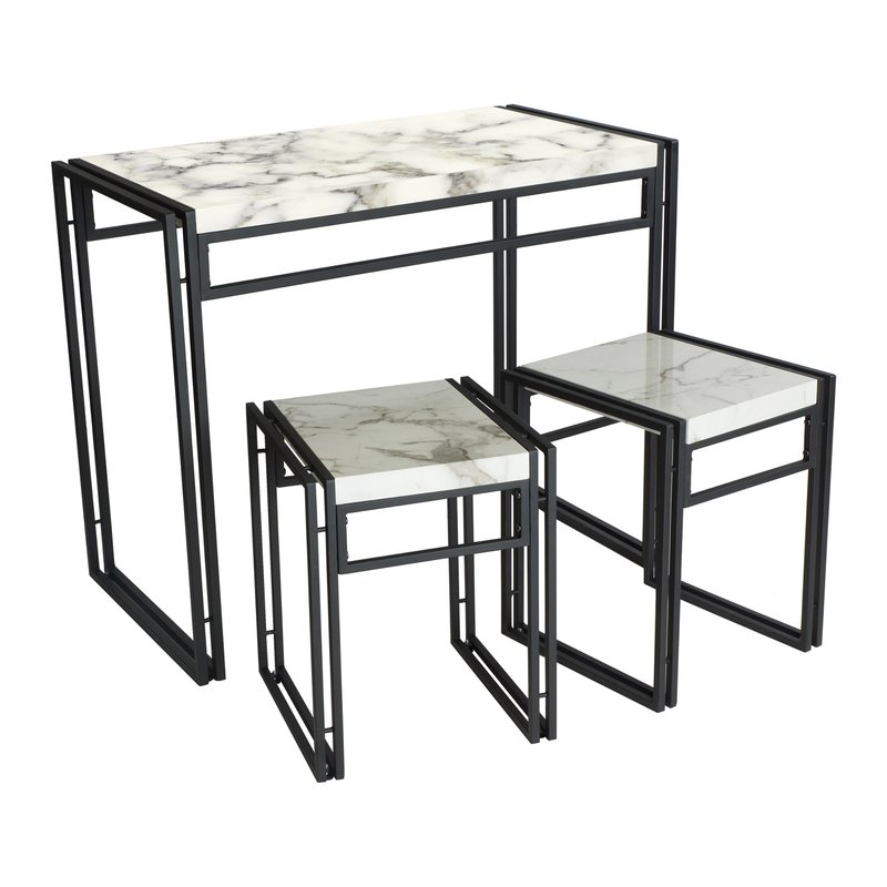 Debby Small Space 3 Piece Dining Set In Debby Small Space 3 Piece Dining Sets (Image 3 of 25)