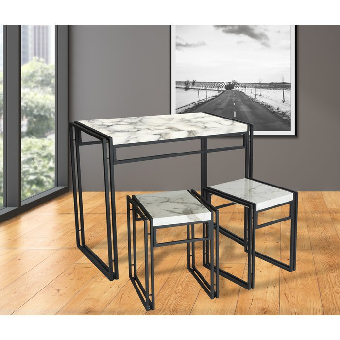 Debby Small Space 3 Piece Dining Set Intended For Debby Small Space 3 Piece Dining Sets (Image 4 of 25)