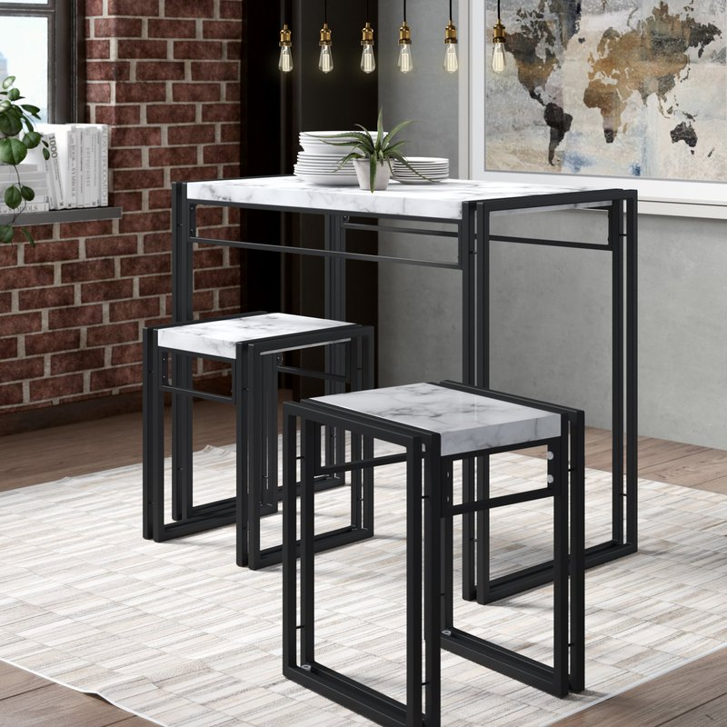 Debby Small Space 3 Piece Dining Set Regarding Mitzel 3 Piece Dining Sets (View 19 of 25)