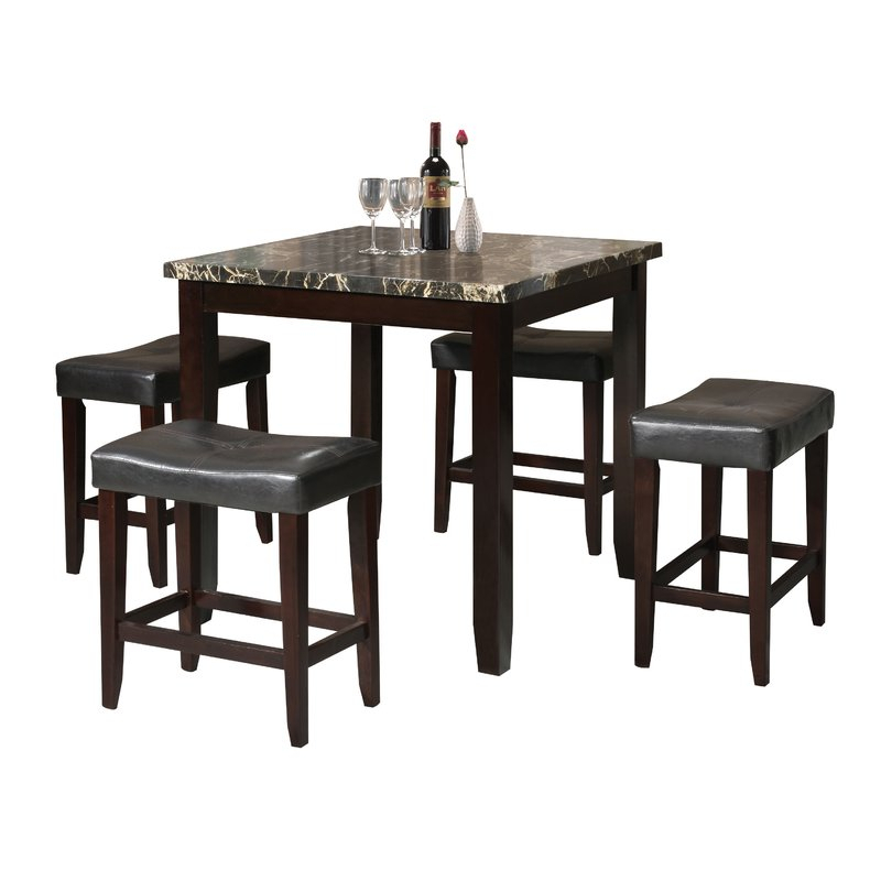 Dehaven 5 Piece Counter Height Dining Set regarding Tenney 3 Piece Counter Height Dining Sets