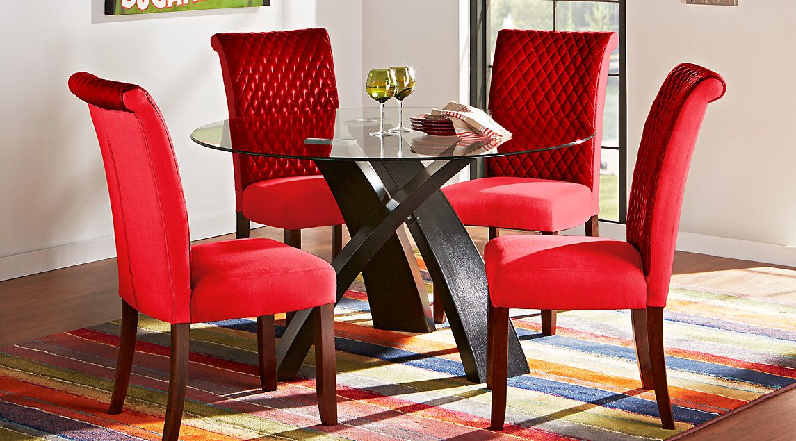Del Mar Ebony 5 Pc Round Dining Set | Dining Room | Round Dining With Regard To Delmar 5 Piece Dining Sets (Image 3 of 25)