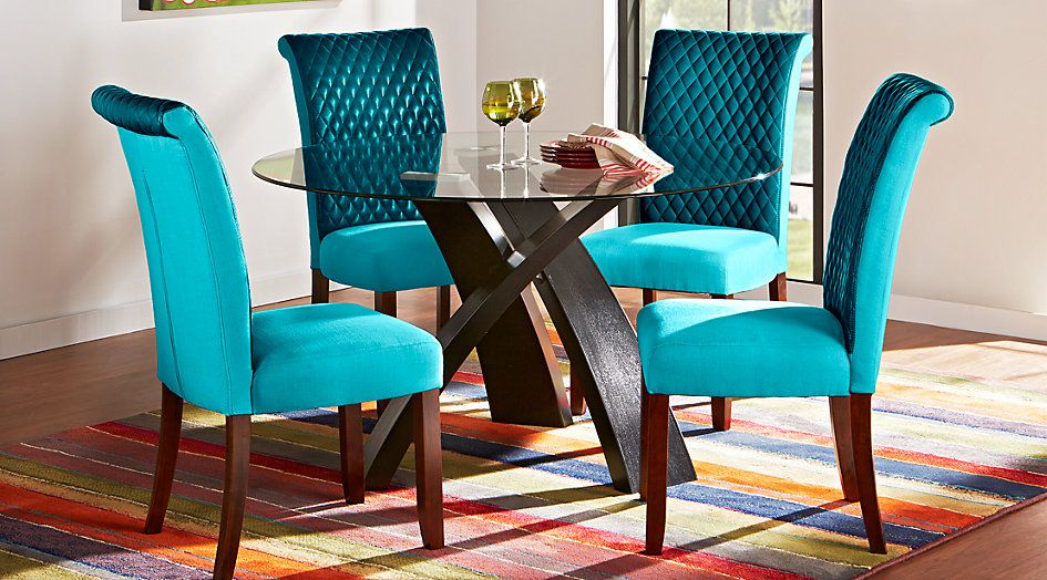 Del Mar Ebony 5 Pc Round Dining Set With Blue Chairs In 2019 in Delmar 5 Piece Dining Sets