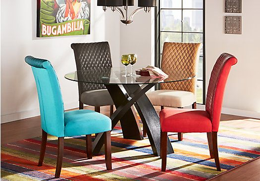 Del Mar Ebony 5 Pc Round Dining Set With Red Chairs | New Casita in Delmar 5 Piece Dining Sets