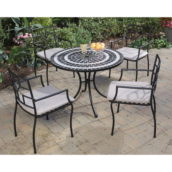 Delmar Black And Grey Tile Top 5-Piece Dining Set intended for Delmar 5 Piece Dining Sets